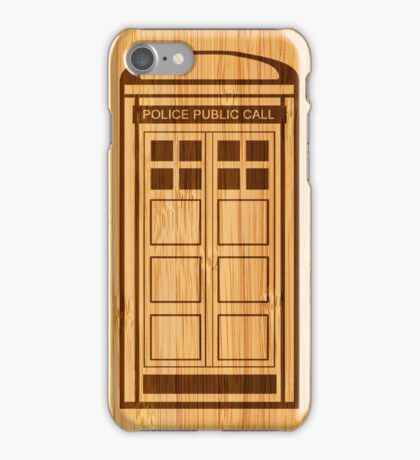 Bamboo Look & Engraved Funny Police Phone Call Box iPhone Case/Skin