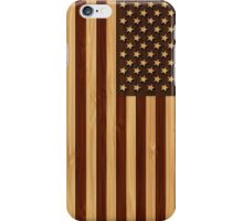 Bamboo Look & Engraved Vintage American USA Flag iPhone Case/Skin