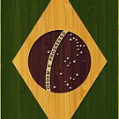 Bamboo Look & Engraved Vintage Brazil Flag by scottorz