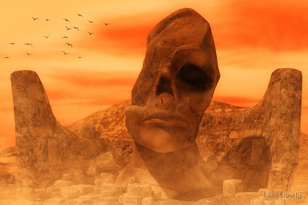 Ancient Sculpture - The Sacred Head of Rasmedes by Liam Liberty