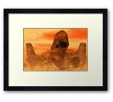 Ancient Sculpture - The Sacred Head of Rasmedes Framed Print