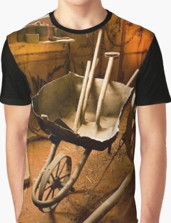 Old style agricultural tools in a wooden shed Graphic T-Shirt