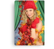 Santa's Helper Autumn Leaves Canvas Print