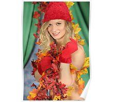 Santa's Helper Autumn Leaves Poster