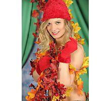 Santa's Helper Autumn Leaves Photographic Print