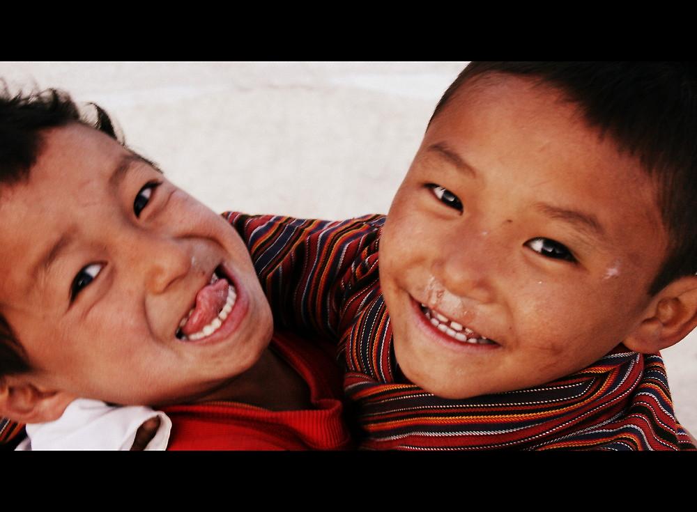 Boys at play in Paro, Bhutan by LeighBlake
