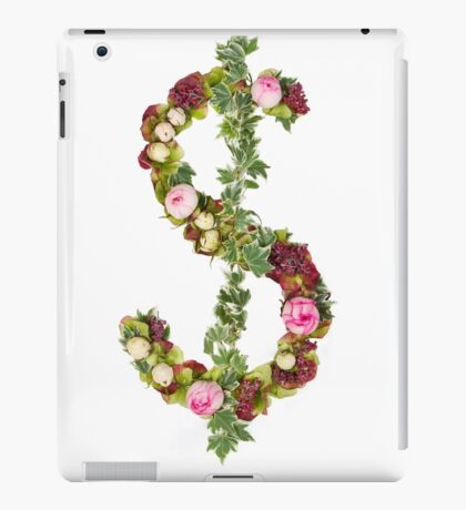 US Dollar Symbol Part of a set of letters, Numbers and symbols of the Alphabet made with flowers iPad Case/Skin