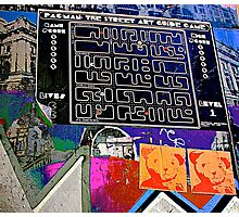 Pac Man graffiti lane map - Graffiti - Street Art Photographic Print