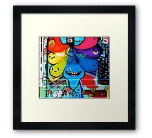 Colourful tear shaped blobs - Graffiti - Street Art Framed Print