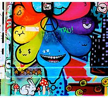 Colourful tear shaped blobs - Graffiti - Street Art Photographic Print