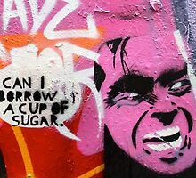 Melbourne Graffiti Street Art - Can I borrow a cup of sugar by NicNik Designs