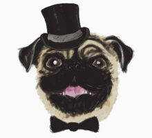 Pug in a top hat by Sarah Crosby