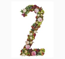The number Two Part of a set of letters, Numbers and symbols of the Alphabet made with flowers One Piece - Short Sleeve