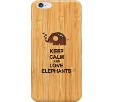 Bamboo Look & Engraved Keep Calm and Love Elephants iPhone Case/Skin