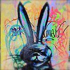 Angry Scary bunny Rabbit - Graffiti - Street Art by NicNik Designs
