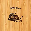 Bamboo Look Engraved Cute Love Owls Couple Valentine's Day by scottorz