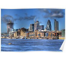 The City of London as viewed from The River Thames Poster