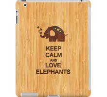 Bamboo Look & Engraved Keep Calm and Love Elephants iPad Case/Skin