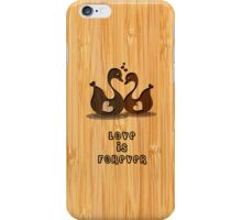 Bamboo Look Engraved Swan Heart Valentine's Day iPhone Case/Skin