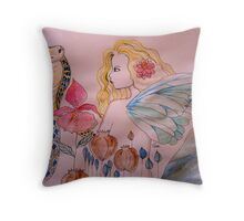 water snake meets fairy Throw Pillow