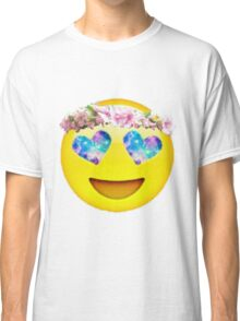 Flower Crown Galaxy Eyes Emoji Classic T-Shirt