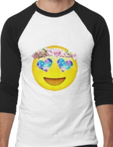 Flower Crown Galaxy Eyes Emoji Men's Baseball ¾ T-Shirt