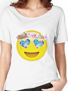 Flower Crown Galaxy Eyes Emoji Women's Relaxed Fit T-Shirt