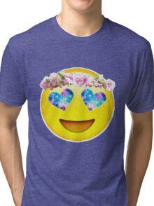 Flower Crown Galaxy Eyes Emoji Tri-blend T-Shirt