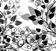 Floral Spring Black & White by Silvia Neto