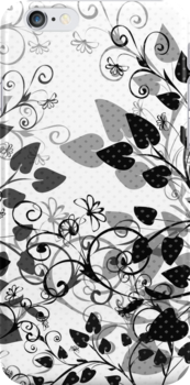 Floral Spring Black & White by silvianeto