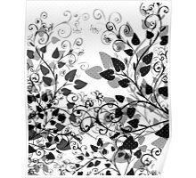 Floral Spring Black & White Poster