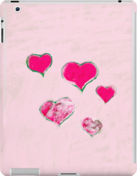 Green - pink hearts on pink - white snow by CatchyLittleArt