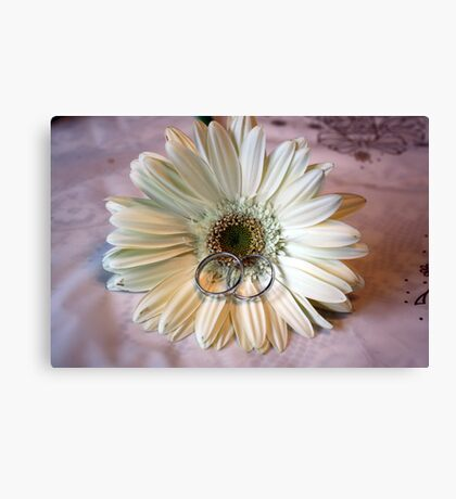 Wedding Rings on Flower Canvas Print