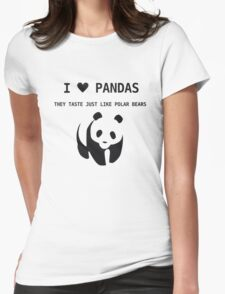 I Love Pandas Womens Fitted T-Shirt