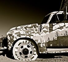 Painted Truck B&W at Salvation Mountain, California  by Jessica Karran