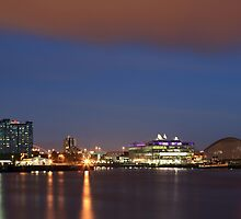 Glasgow Pacific Quay at Night by Maria Gaellman