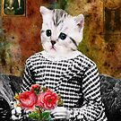 Cat On A Chair-Available As Art Prints-Mugs,Cases,Duvets,T Shirts,Stickers,etc by Robert Burns