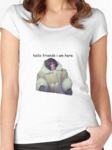hello friends i am here: ikea monkey Women's Fitted Scoop T-Shirt