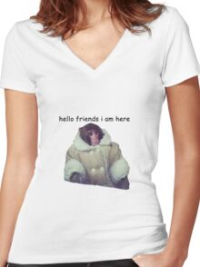 hello friends i am here: ikea monkey Women's Fitted V-Neck T-Shirt