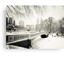 Winter - Central Park - Bow Bridge - New York City Canvas Print