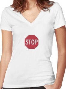 stop sign funny bro truck stop tee  Women's Fitted V-Neck T-Shirt