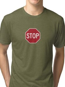stop sign funny bro truck stop tee  Tri-blend T-Shirt
