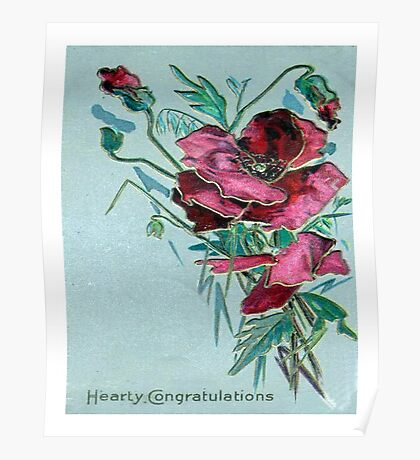 Hearty Congratulation Blank Greeting Card Poster