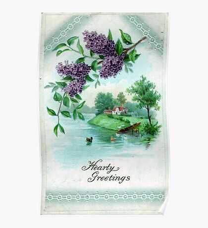 Hearty Greetings Blank Greeting Card Poster