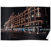 London Harrods night time  Poster