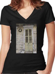 An Old Door with Character Women's Fitted V-Neck T-Shirt