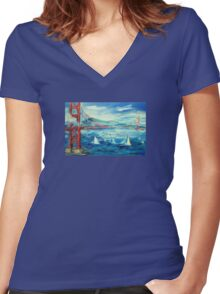 San Francisco golden gate bridge sailing day Women's Fitted V-Neck T-Shirt