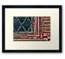 Latticed Window and Weathered Wood Framed Print
