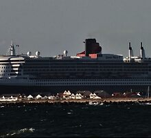 QUEEN MARY OVER NORTH HAVEN by JAMES LEVETT