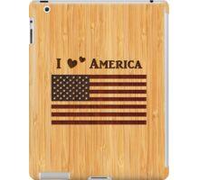 Bamboo Look & Engraved I Love America Flag iPad Case/Skin
